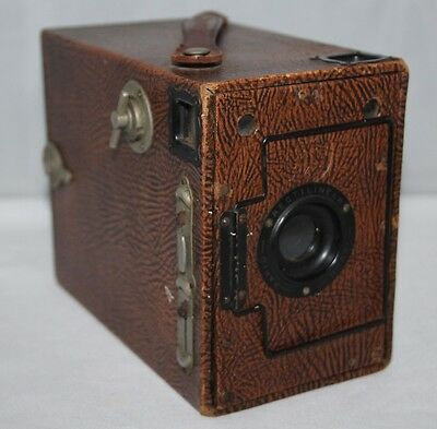 Ensign Box 2 1/4B Rapid Rectlinear Model Brown - 1923 Box Camera - Working
