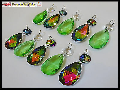 10 Chandelier Droplets Glass Crystals Oval Retro Green Vitrail Prisms Drops V10