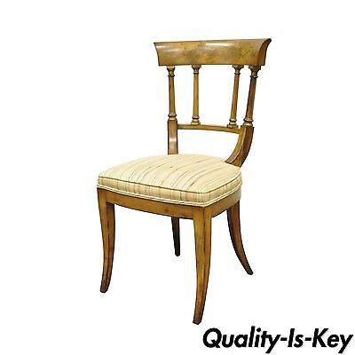 Antique Regency Empire Style Solid Wood Klismos Saber Leg Side Desk Accent Chair