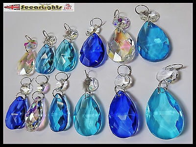12 Chandelier Drops Glass Crystals Oval Retro Ab & Blue Teal Prisms Light Beads