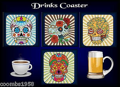 Coaster Colourful Sugar Skull Design Gothic Brother Sister Cousin Friend Mat