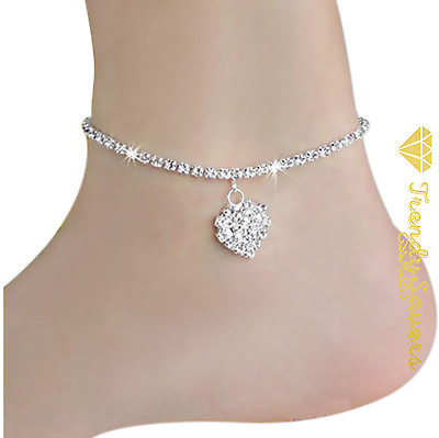 Women's Shiny Crystal Heart anklets  Ankle Charm Leg bracelet Ankle Chain