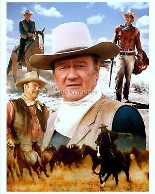 Beautiful John Wayne Montage Showcasing Great Roles - 8X10 Photo (Aa-297)