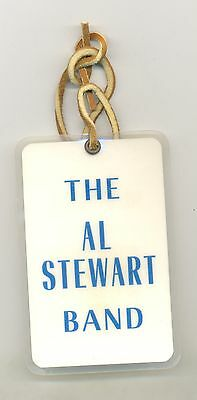 The Al Stewart Band laminated pass with leather strap tie (1970s/80s?)