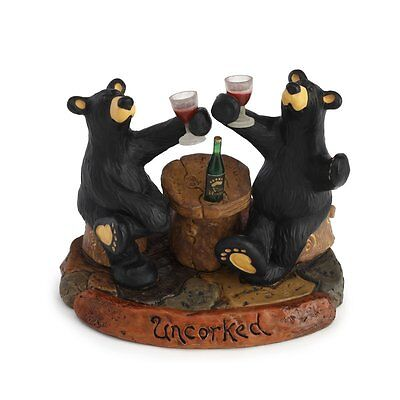 New Big Sky Carvers Bearfoots Bear Figurine - Uncorked Wine Bear