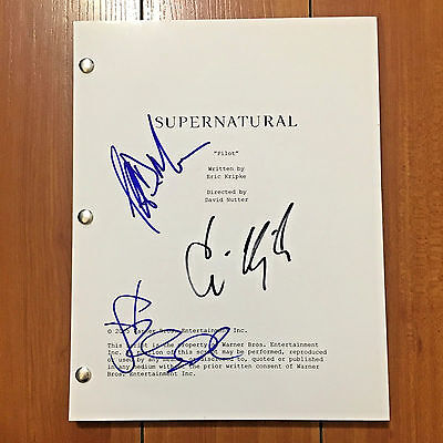 SUPERNATURAL SIGNED PILOT SCRIPT BY x3 CAST - JARED PADALECKI w/PROOF