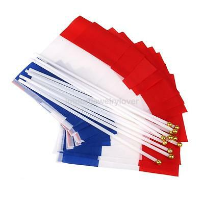 Set of 12 Quality Hand Waving France Paris Flag French Small Banners 8 x 5""
