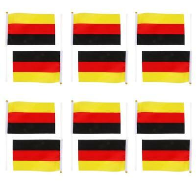 "12 Germany German Berlin Hand Waving Flag Small Banner 8"" x 5"" & Pole Sticks"