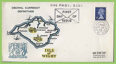G.B. 1973 definitive 3p One phosphoir Band on Isle of Wight First Day Cover, Ryd