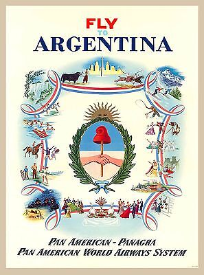 Fly to Argentina  Vintage South American America Travel Advertisement Poster