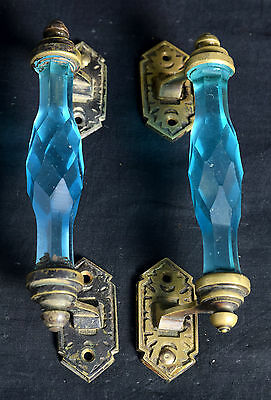 Pair of Decorative Vintage Brass Fitted Belgium Cut Glass Door Handle.G73-50