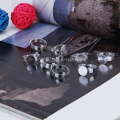 20pcs Silver Adjustable Ring Blank Jewelry Findings Glue 10mm Flat Pad Base