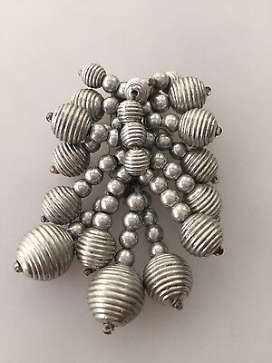 1930s Vintage EARLY HASKELL Dress Clip Silvertone FLUTED Beads Art Moderne