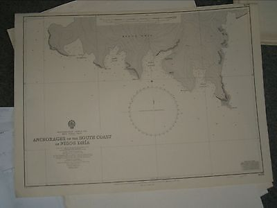 Vintage Admiralty Chart 1671 KRITI - ANCHORAGES ON S COAST OF NISOS DHIA1967 edn
