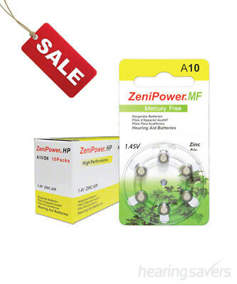 Box of ZeniPower Hearing Aid Batteries A10 (size 10) MF (60 cells)