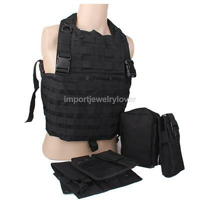 Blk SWAT MOLLE Tactical Military Hunting Airsoft Combat Assault Carrier Vest