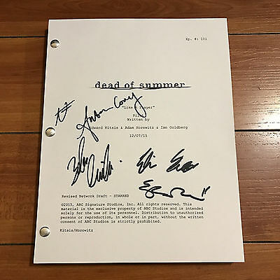 DEAD OF SUMMER SIGNED PILOT SCRIPT BY +5 CAST - ELIZABETH MITCHELL w/ PROOF