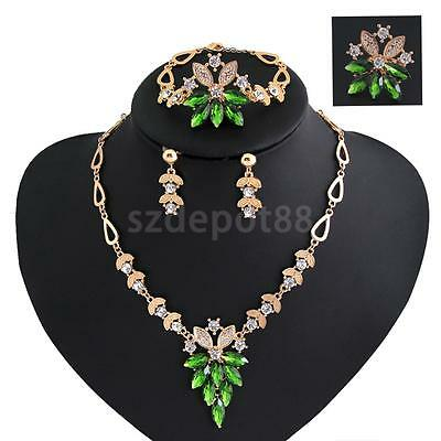 18K Gold Plated Green Crystal Necklace Bracelet Earring Ring Jewelry Set