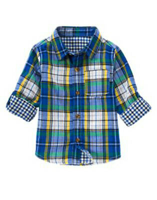 NWT CRAZY 8 Plaid & Gingham ACTIVE HOLIDAY PARTY Button Front Shirt