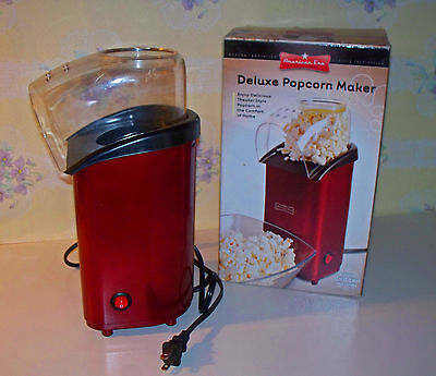 American Era Red Deluxe Electric Hot Air Popcorn Maker Theater Style With Box
