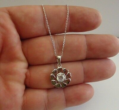 925 Sterling Heart Circle Necklace Pendant W/ 1 Ct Lab Diamond/ 24Mm By 15Mm