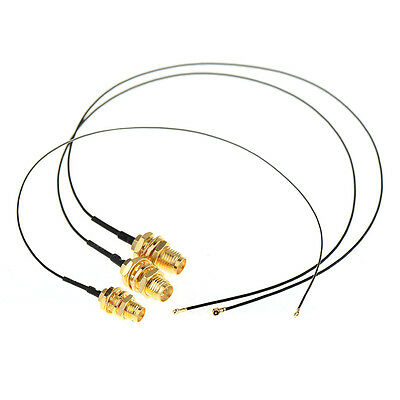 "3xIPEX MHF4 To RP-SMA Male Pin 0.81mm Cable For NGFF/M.2 Antenna WiFi 7.4"" TMPG"
