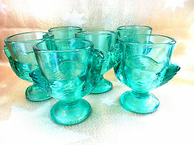Six French Turquoise Glass Hen Chicken Shaped Egg Cups Made In France