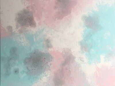 Modern Original Abstract Canvas Painting Pink Blue White Silver Dee's Funky Art