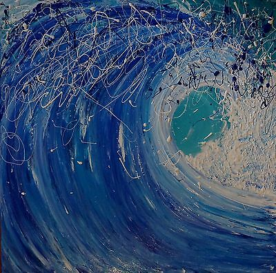 Modern Original Abstract Canvas Painting Surf Beach Blue White Dee's Funky Art