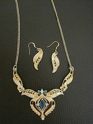 vintage gold tone necklace earring set