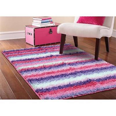 """Colorful Your Zone Striped Shag Non-Skid Rug, Pink 3'8"""" x 2'6""""Girls Purple White"""
