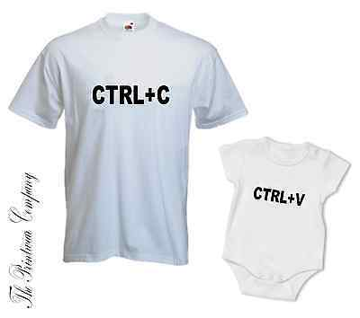 CTRL+C CTRL+V Copy Paste Matching Daddy Dad Son Daughter T-Shirt Tee & Babygrow