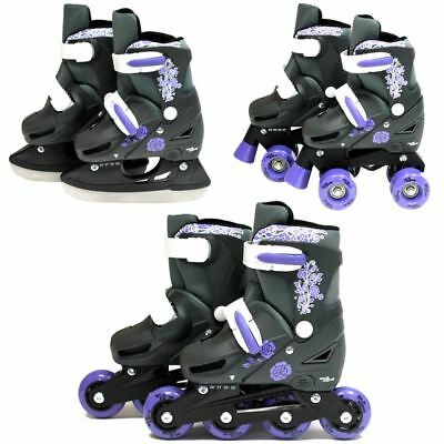 SK8 Zone Girls Purple 3in1 Adjustable Roller Blades Inline Quad Ice Skates New