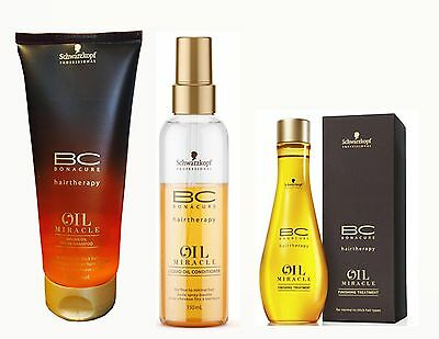 BONACURE Oil Miracle Verwöhnset Shampoo + Spray Conditioner + Treatment mit Arga