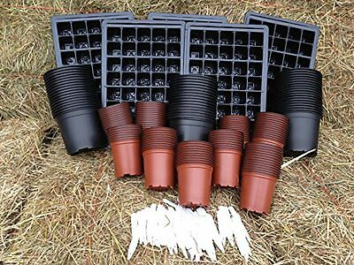 Seed Starter Kit Seed Trays, Inserts, 9CM & 1 Litre Plant Pots