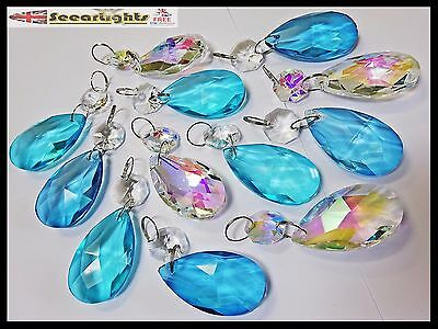 12 Chandelier Drops Glass Crystals Oval Prism Light Beads Antique Teal Retro Ab