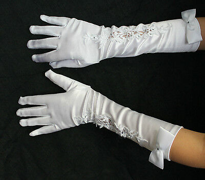 Girls Children bridesmaid bridal long satin gloves with pearl detail ivory white