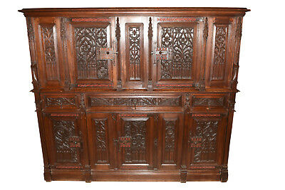 IMPRESSIVE Antique French Gothic Cabinet in Oak 19th Century Large Nice Carvings