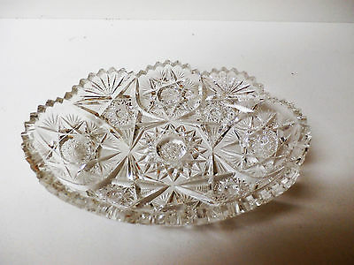 Vintage Cut Glass Oval Relish Candy Dish Starburst Saw-tooth Scalloped Edge