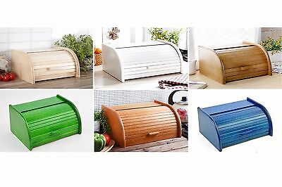 Wooden Bread Box Apollo Roll Top Bin Storage Loaf Kitchen Smal Large 24 types
