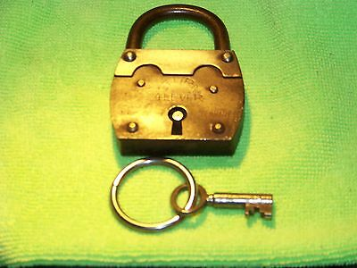 VINTAGE 1 TURN 4 LEVER MADE IN GERMANY PADLOCK with KEY