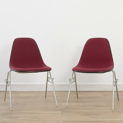 2 x (Pair) Herman Miller Vintage Original Eames Red Side Chairs On Base Choice