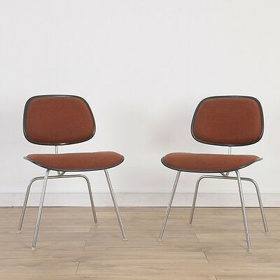 2 x (Pair) Herman Miller Eames Upholstered DCM Chair - Red Fabric Black Chair