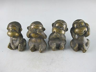 Chinese collection of bronze bronze house Feng Shui four lovely monkeys