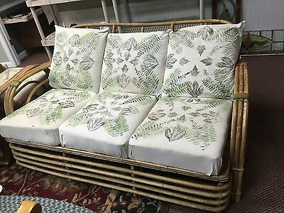 Antique Art Deco rattan set . Sofa And Two Matching Chairs