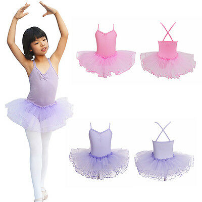 Kids Girls Leotard Dancewear Princess Tutu Ballet Dance Dress Eager