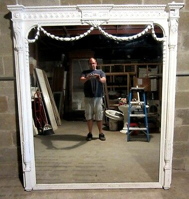 ~ Enormous Antique Carved Mahogany Hall Pier Mirror  ~ Architectural Salvage ~