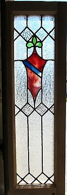 ~ ANTIQUE AMERICAN STAINED GLASS WINDOW ~ 12 x 37.5 ~ ARCHITECTURAL SALVAGE