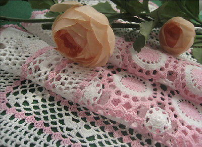 Again!! Vintage Style Fine Yarn Pink White Hand Crochet Cotton Topper Placemat