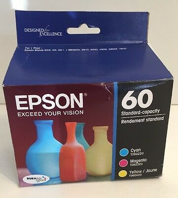 Genuine Epson 60 T060520 Cyan Magenta Yellow Ink Jet Cartridges Combo Pack Set